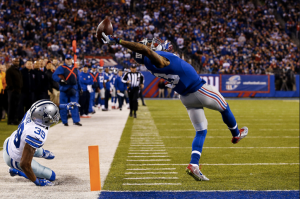 The New York Giants' Odell Beckham Jr. made a seemingly impossible one-handed reception to score a touchdown against the Dallas Cowboys.